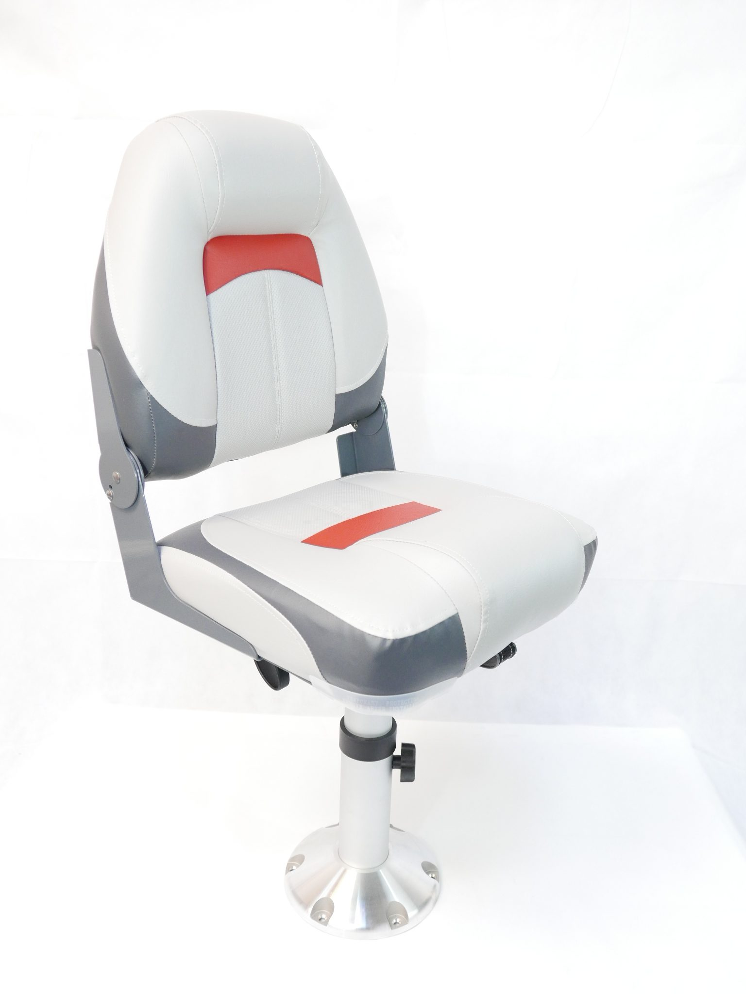 MiDMarine Premium High Back Qualifier Boat Seat Grey//Charcoal//Red Style
