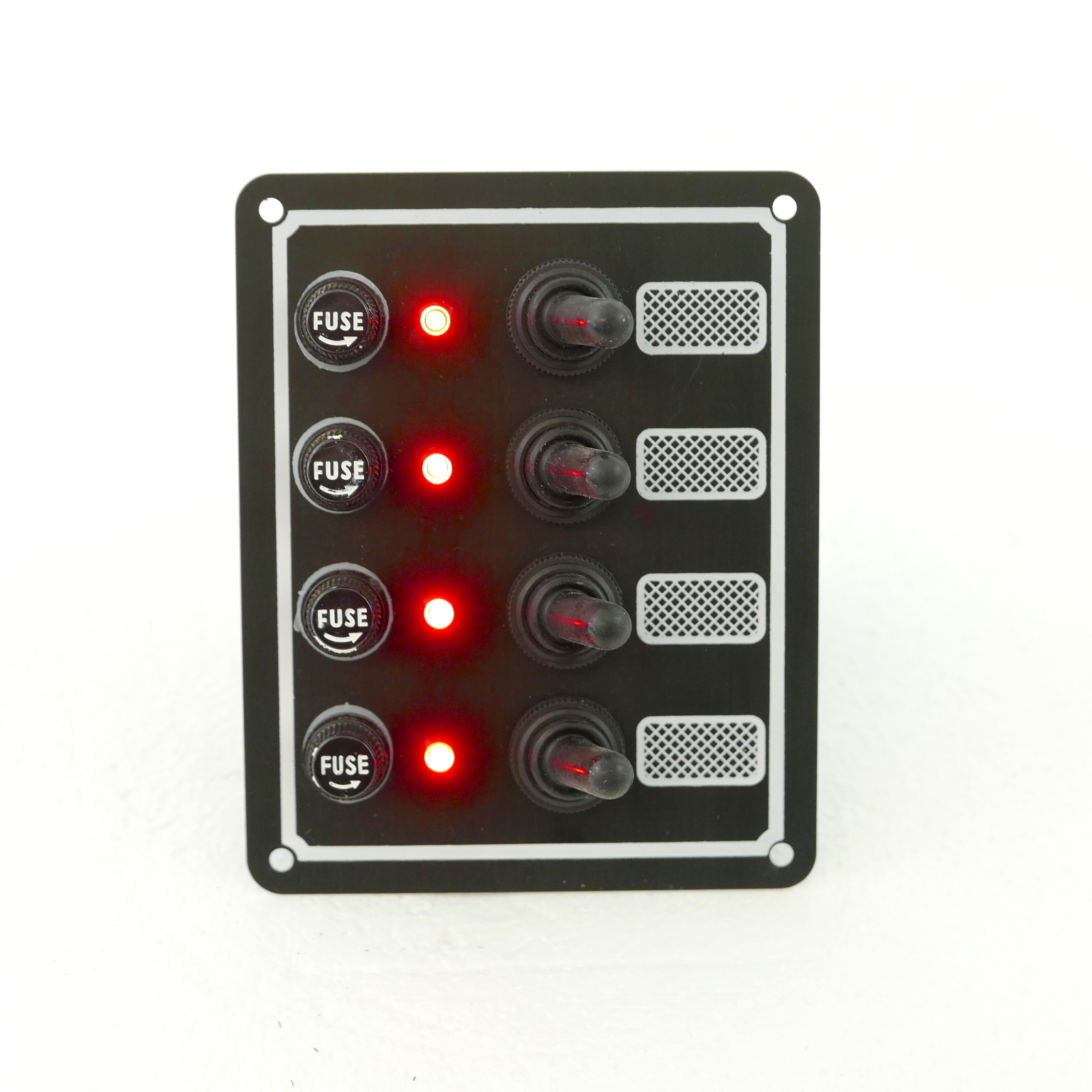 Switch Panel With Fuse And Toggle Switch 4 Gang  12v